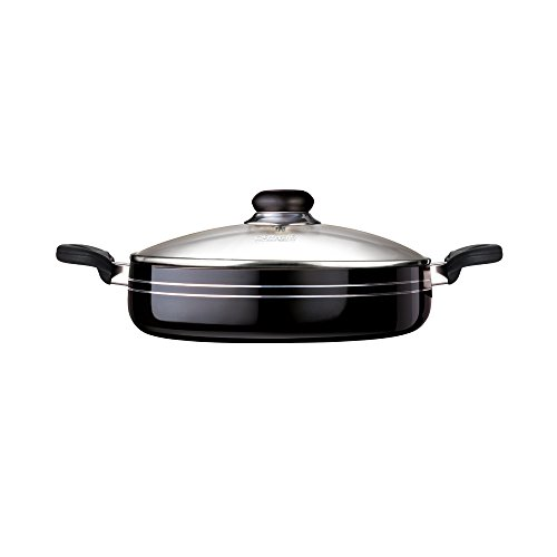 Nirali 11 inch Thick aluminium, Teflon Platinum non-stick fry pan with toughened glass lid, black exterior suitable for