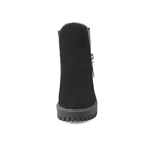 Toe Frosted Pull Top On Boots Allhqfashion Round High Low Black Closed Women's Heels XqHxXwvB