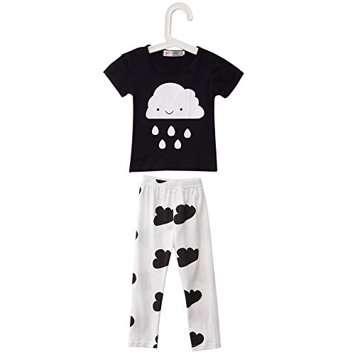Baby T-Shirt Suit Korean Version Jewel Neck Short Sleeve Cloud Raindrop Print ()