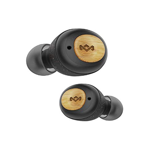 House of Marley True Wireless Champion Earbuds - Bluetooth 5.0 Earphones, Up to 28 Hours Battery Life with Quick Charge, Rechargeable Case, Eco Friendly Bamboo Design