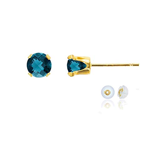 - Genuine 10K Solid Yellow Gold 5mm Round Natural London Blue Topaz December Birthstone Stud Earrings