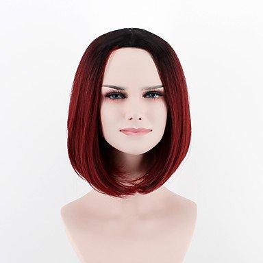 Peluca de disfraz de Halloween, peluca sintética para mujer, color rojo, peluca de