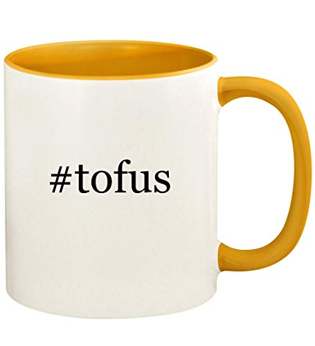 #tofus - 11oz Hashtag Ceramic Colored Handle and Inside Coffee Mug Cup, Golden Yellow