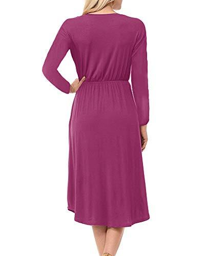 Bigyoner Midi Polka Fall Pleated Dresses Long Sleeve rose Dress Dot Z Waist Empire Womens Red fvf1qwFU