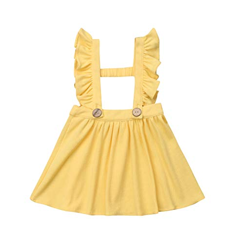 (doublebabyjoy Baby Girl One Piece Ruffles Suspender Skirt Overalls Infant Toddler Solid Color Sleeveless Backless Dress Outfit 0-5T (Yellow, 3-4T))