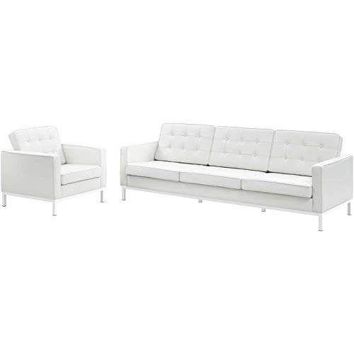 Modway EEI-3099-WHI-SET Loft Mid-Century Modern Upholstered Leather, Sofa and Armchair Set, - Loft Leather Sofa Set