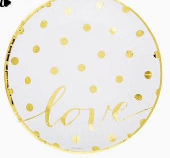 Gold Polka Dot on White Love Paper Plates (Gold Polka Dot on White Love Paper  sc 1 st  Amazon.com & Amazon.com: Gold Polka Dot on White Love Paper Plates (Gold Polka ...