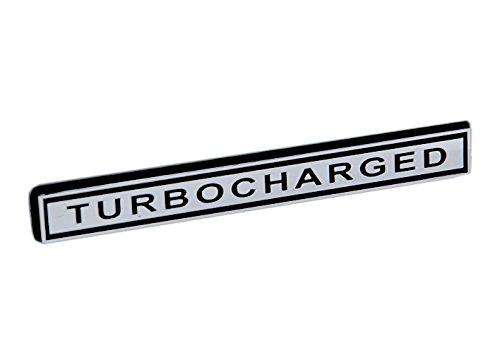 (TURBOCHARGED Turbocharger Engine Emblem in Chrome & Black - 5