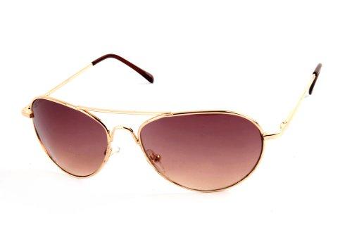 Metal Classic Aviator Color Lens Sunglasses Small Size P2480 (Gold-Brown - Aviator Size Sunglasses Small