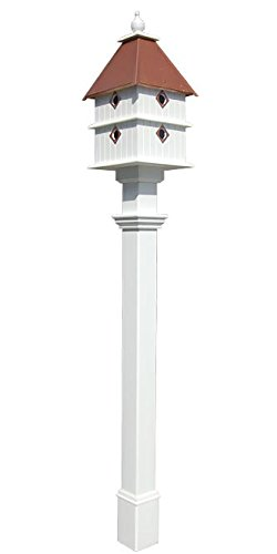 Plantation Bird House and Decorative Mounting Post, Copper Colored Roof