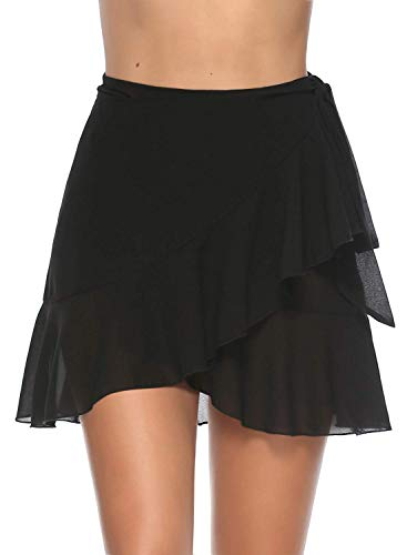ChicNChic Womens Swimwear Beach Cover Up Chiffon Wrap Sarong Ruffle Pareo Swimsuit Bikini (Medium, Black)