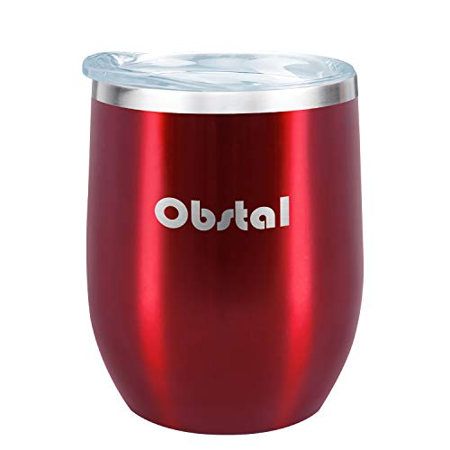 Obstal 12 oz Stemless Wine Tumbler, Stainless Steel Wine Glass with Clear Lid - Double Wall Vacuum Insulated Tumbler for Wine, Coffee, Burgundy