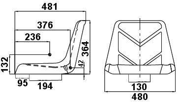 Asiento 485 mm Completo vulka sincronizable apto para vehículos Asiento Segadora: Amazon.es: Coche y moto