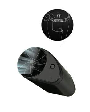 bosji Mini Portable Handheld Fan Portable Built-in 1200Mah Battery USB Rechargeable Air Cooler Conditioner 3 Gear Wind Adjustable for Travel Office (Black)