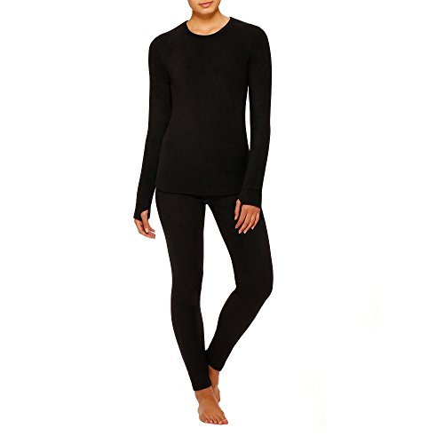 - Cuddl Duds ClimateRight Long Sleeve Crew Stretch Fleece (Medium, Black)