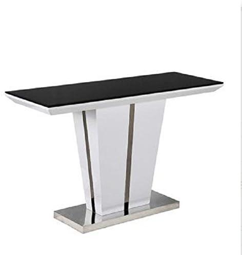 Negro tapa de cristal mesa consola blanco brillante Base acabado ...