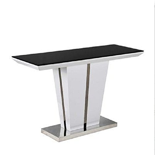 1b2fe679fc6bd7 Schwarz Glas Top Konsole Tisch weiß hochglanz Boden Finish Mozart Memphis  Spektakuläre Luxus Stück Möbel sehr