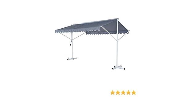 Outsunny – ® Stand Toldo Parasol para jardín Toldo Terraza con Brazo Plegable, Metal + Poliéster, Gris, 4 x 3 x 2,5 m: Amazon.es: Hogar