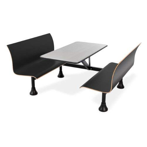 (OFM 1006W-BLK Retro Bench with Stainless Steel Table Top and Wall Frame)