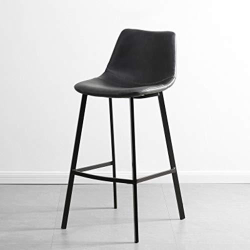 XINGPING Leisure Wrought Iron High Stools Cafe Back Metal Bar Chair Home Simple Bar Stool Restaurant Dining Chair (Color : Black) ()