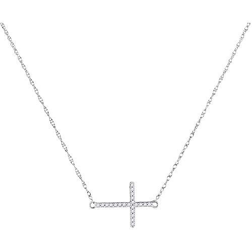 The Diamond Deal 10kt White Gold Womens Round Diamond Sideways Horizontal Cross Religious Pendant Necklace 1/20 Cttw ()