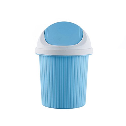 Daycount Mini Waste Bin Rolling Cover Tape Desktop Garbage Paper Basket Table Trash Container Case Home Office Bathroom Car Trash Can (Blue)