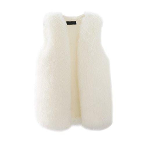 Fourrure CHENGYANG Sans Femmes Blanc long Fausse Manteau Manches Veste Gilet Mi Blouson Hiver OOtwqnR1