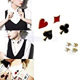 4pcs Fashion Womens Collar Suit Brooch Pin Poker Card Breastpin Accessories