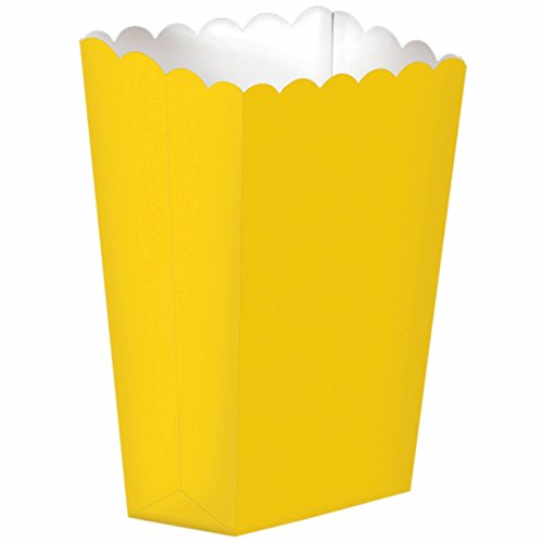 Party Ready Large Popcorn Favour Box, 10 Pieces, Made from paper, Yellow Sunshine, 7 1/4