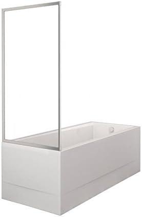 Mampara 70 x 135 cm (LXH) 1 piezas vidrio templado vidrio transparente 4 mm profile Elox/plata mate: Amazon.es: Bricolaje y herramientas