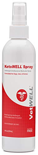 KetoWELL Chlorhexidine & Ketoconazole Antiseptic, Antifungal, Antibacterial Medicated Spray for Dogs & Cats - Hot Spot Treatment, Ringworm, Yeast, Fungal Infections, Acne - Aloe & Vitamin E - 8 oz by VetWELL