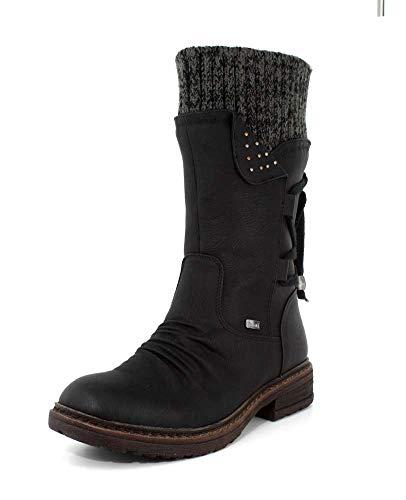 7a3a37f1bf5f Rieker Womens 94773-00 Damen Langschaft Stiefel Schwartz Winter Boot - 38