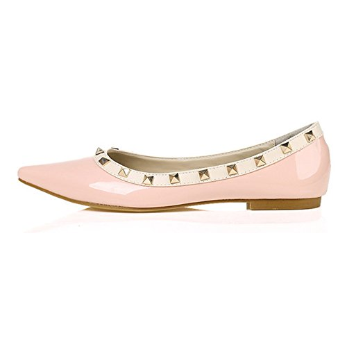 MAIERNISI Toe Women's Studded pink Shoes Flats 1 Rivets JESSI Pointed Ballet qr6Pq