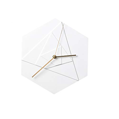 (European Modern Quartz Wall Clock - Hexagonal Frame, Ceramic Material, Silent Movement, Quartz Wall Clock Living Room/Bedroom Decoration.)