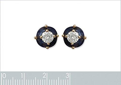 ISADY - Achima Gold - Boucles d'oreille - Clous d'oreilles - Plaqué Or 750/000 (18 carats) - oxyde de zirconium transparent et saphir bleu