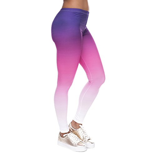Pop Fashion Women Brightly Colored Printed Leggings Footless Tights Ankle Pants (Purple Ombre)