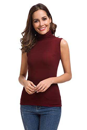 Womens Long Sleeve/Half Sleeve/Sleeveless Mock Turtleneck Crew Stretch Slim T Shirt Layer ()