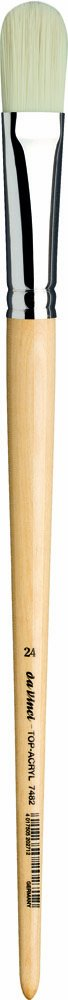 da Vinci Oil & Acrylic Series 7482 Top Acryl Paint Brush, Filbert White Synthetic with Long Natural Polished Handle, Size 24