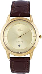 Regency Unisex Gold Dial Leather Band Watch [3436G]