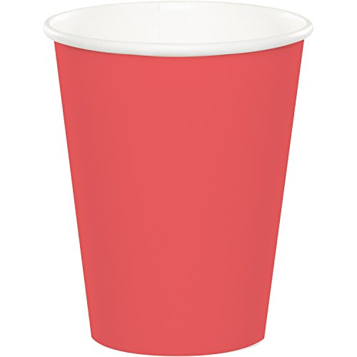Creative Converting 563146B 24 Count Touch of Color Hot/Cold Cups, 9 oz, - Store Coral