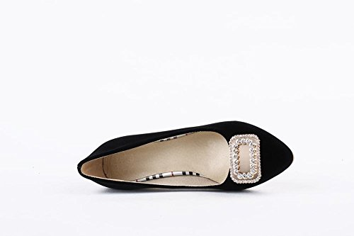 Carolbar Womens Rhinestones Cuff Pointed Toe Sexy Fashion Chunky Mid Heel Dress Shoes Black hMvZZbLOWD