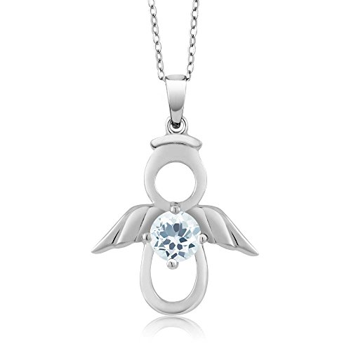 Gem Stone King Sky Blue Aquamarine Angel Pendant Set in 925 Sterling Silver Gemstone Birthstone with 18 Inch Silver Chain 0.40 cttw