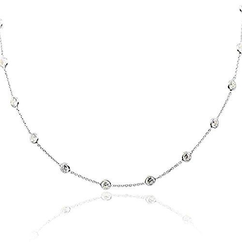 14K White Gold Handmade Station Necklace With 4 MM Cubic Zirconia (16, 17, 18, 20, and 24 Inches) by amazinite