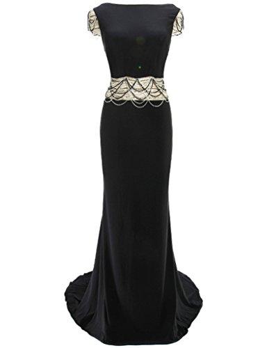 HarveyBridal Backless Mermaid Hand Beading Formal Evening Dress For Prom Party