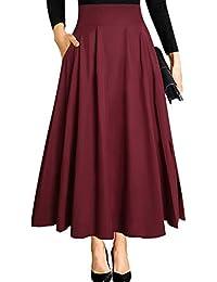 f0d972b9b9e7b Black Maxi Skirts for Women Vintage Summer High Waisted A-line Long Flowy  Skirt