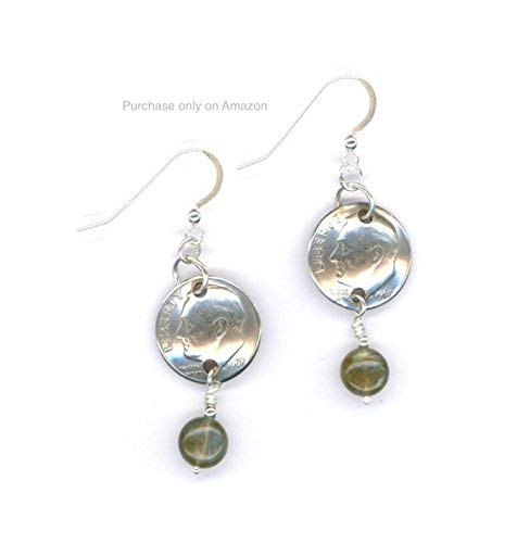 (51st Birthday 1968 Dimes with Labradorite Beads and Silver Links Earrings 51st Anniversary Gift Coin)