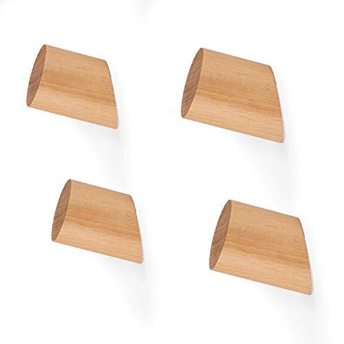 Wooden Wall Hooks, Beechwood - 4 Pack of Modern Wall Mounted Coat Hook Wood Pegs (Wall Wooden)