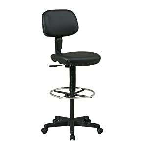 Office Star Sculptured Vinyl Seat and Back Pneumatic Drafting Chair with Adjustable Chrome Foot ring, Black