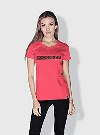 Creo Book Nerd Funny T-Shirts For Women - L, Pink