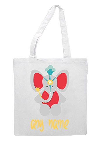 Themed Cute Personalised Elephant Tote Shopper With Text Circus White Any Name Bag OqOXFBIw